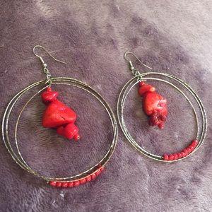 • vintage • silver red coral hoop dangle earrings